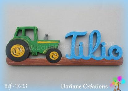 prénom en bois Tilio tracteur