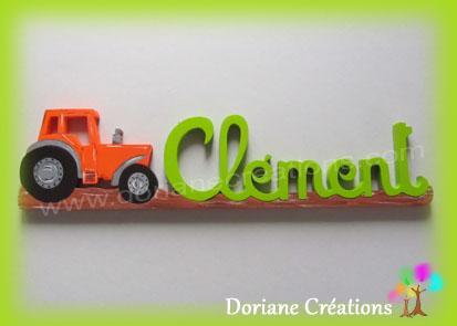 prénom en bois tracteur Clément