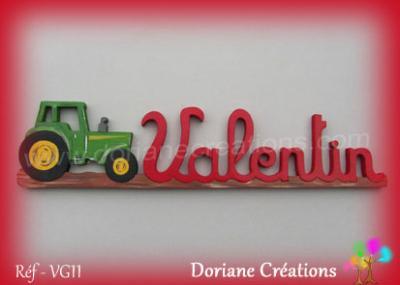 prénom en bois Valentin tracteur