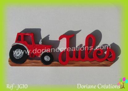 prénom en bois Jules tracteur