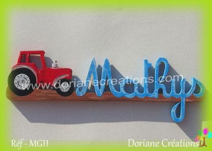 prénom en bois Mathys tracteur