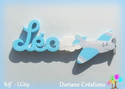 Prénom-bois-Léo-avion