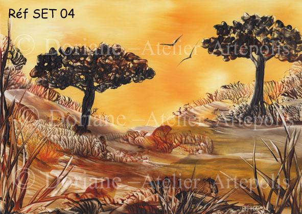 set de table couché de soleil Afrique - Réf SET 04