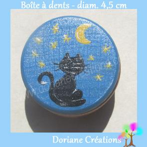 Boite a dents decor chat assis etoiles fond bleu