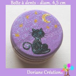 Boite a dents decor chat assis etoiles fond violet