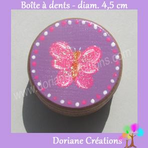 Boite a dents decor papillon rose