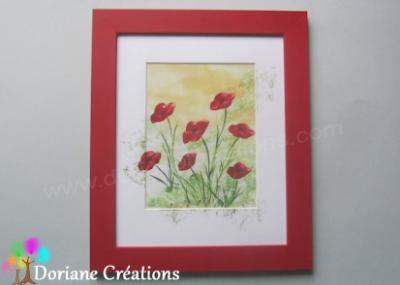 Cadre rouge coquelicots - 30x36cm