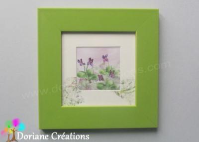 Cadre vert violettes - 18x18cm