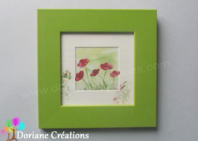 Cadre vert coquelicots - 18x18cm