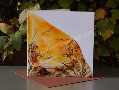 05- carte occasion couché de soleil peinte à la cire