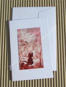 07- Carte classique peinte à l'encaustique chat