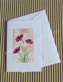 01- Carte classique peinte à l'encaustique coquelicots