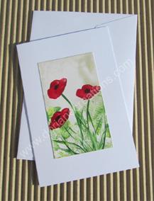 04- Carte classique peinte à l'encaustique coquelicots