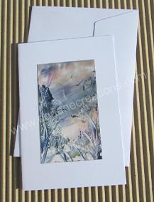 02- Carte classique peinte à l'encaustique paysage