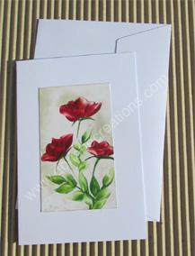 03- Carte classique peinte à l'encaustique roses rouges