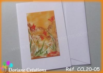 carte paysage fleurs orangées 10x15
