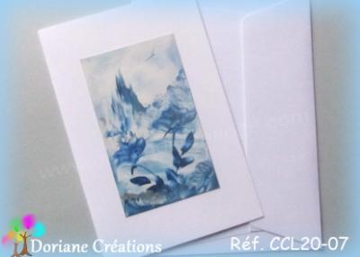 carte paysage et roses bleues 10x15