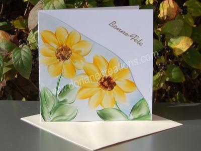 08- carte Bonne Fête tournesols peinte à la cire
