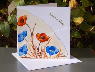 12- carte Bonne Fête coquelicots peinte à la cire