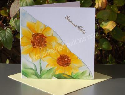 09- carte Bonne Fête tournesols peinte à la cire