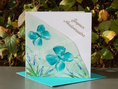 01- carte anniversaire papillons peinte à la cire