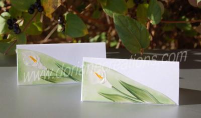 05- chevalets de table peints à la cire thème arums Réf.CT05