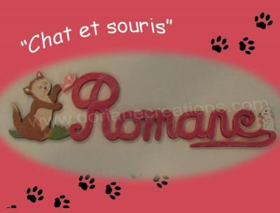 06 lettres - Prénom bois Chat et Souris
