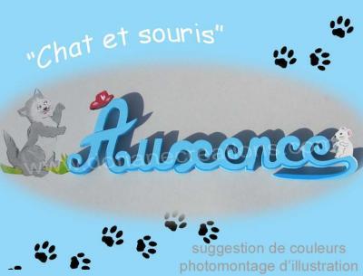 07 lettres - Prénom bois Chat et Souris