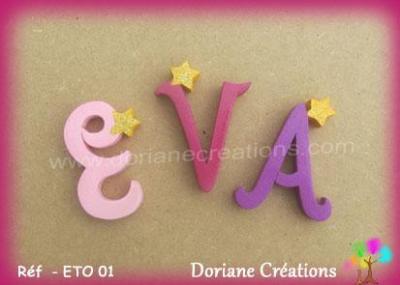 Lettres murales en bois décor étoiles