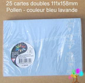 25 Cartes doubles Pollen 111X158, couleur bleu lavande