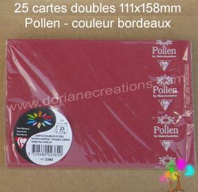 25 Cartes doubles Pollen 111X158, couleur bordeaux