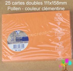 25 Cartes doubles Pollen 111X158, couleur clémentine