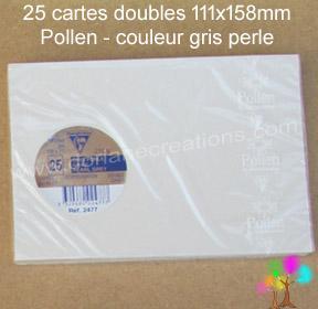 25 Cartes doubles Pollen 111X158, couleur gris perle