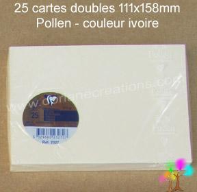 25 Cartes doubles Pollen 111X158, couleur ivoire