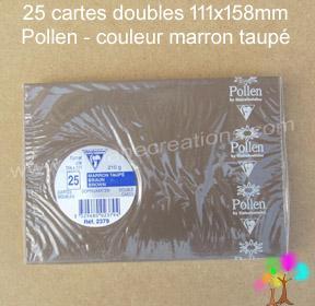 25 Cartes doubles Pollen 111X158, couleur marron taupé