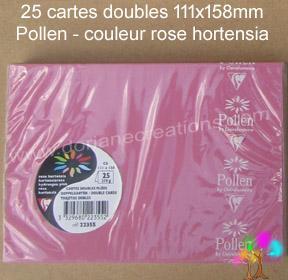 25 Cartes doubles Pollen 111X158, couleur rose hortensia