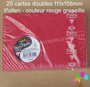 25 Cartes doubles Pollen 111X158, couleur rouge groseille
