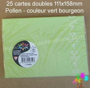 25 Cartes doubles Pollen 111X158, couleur vert bourgeon