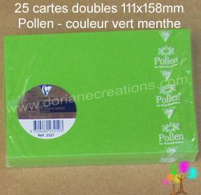25 Cartes doubles Pollen 111X158, couleur vert menthe