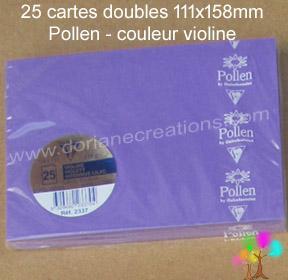 25 Cartes doubles Pollen 111X158, couleur violine