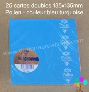 25 Cartes doubles Pollen 135X135, couleur bleu turquoise