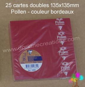 25 Cartes doubles Pollen 135X135, couleur bordeaux