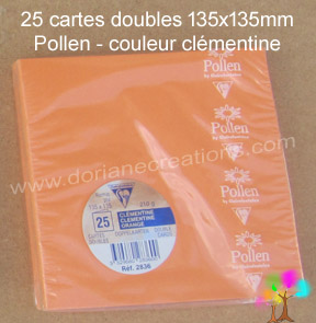 Gamme pollen de clairefontaine carte double 135x135mm clementine