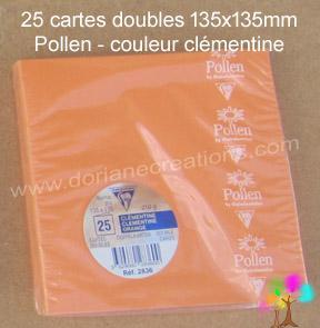 25 Cartes doubles Pollen 135X135, couleur clémentine