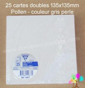 25 Cartes doubles Pollen 135X135, couleur gris perle
