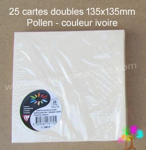 25 Cartes doubles Pollen 135X135, couleur ivoire