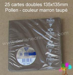 25 Cartes doubles Pollen 135X135, couleur marron taupé