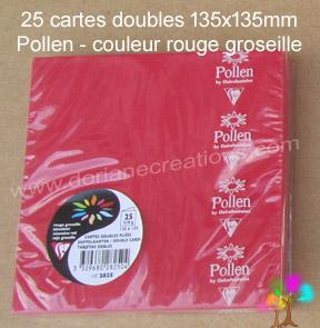 Gamme pollen de clairefontaine carte double 135x135mm rouge groseille