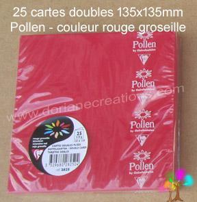 25 Cartes doubles Pollen 135X135, couleur rouge groseille