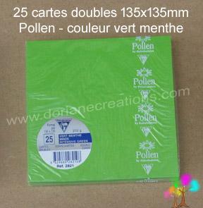 Gamme pollen de clairefontaine carte double 135x135mm vert menthe